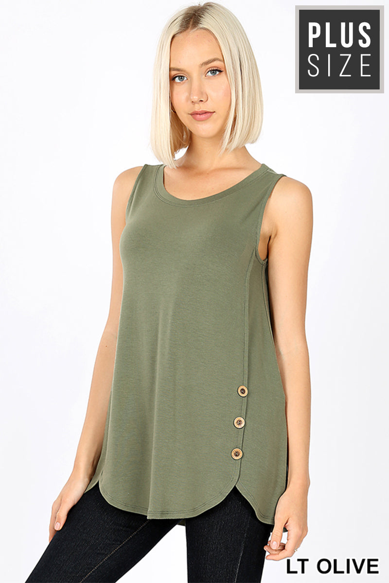 PLUS PREMIUM SLEEVELESS WOOD BUTTONS DOLPHIN HEM TOP - Zenana Outfitters Women's Clothing