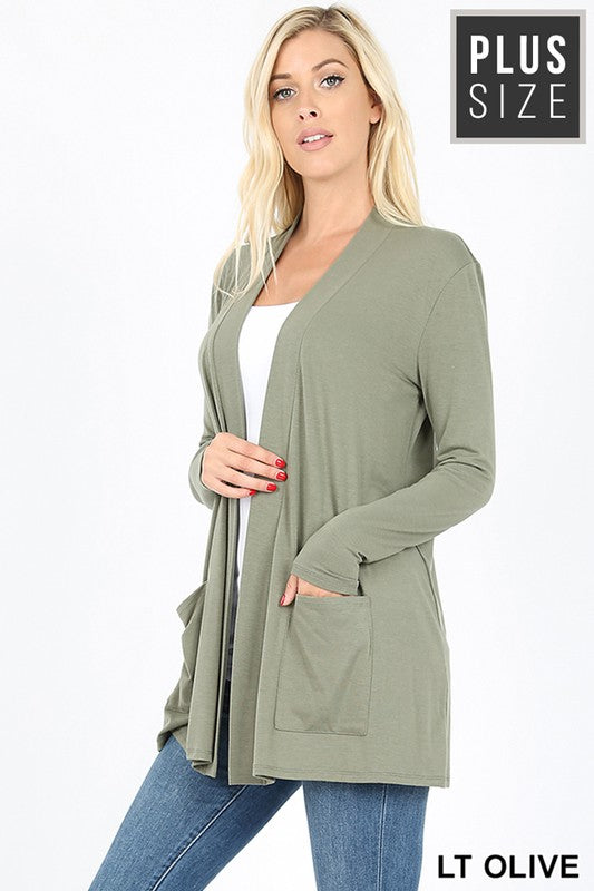 PLUS PREMIUM FABRIC SLOUCHY POCKET OPEN CARDIGAN - Zenana Outfitters Women's Clothing