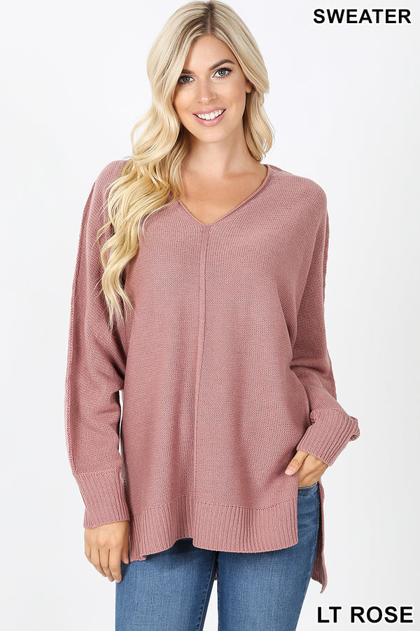 RIBBED TRIM SEAM DETAILED V-NECK SWEATER - Zenana Outfitters Women's Clothing