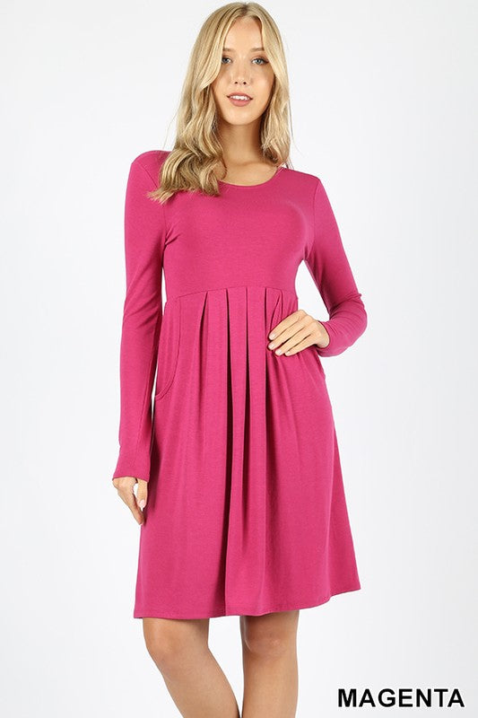 PREMIUM PLEATED WAIST LONG SLEEVE DRESS - Zenana Outfitters Women's Clothing