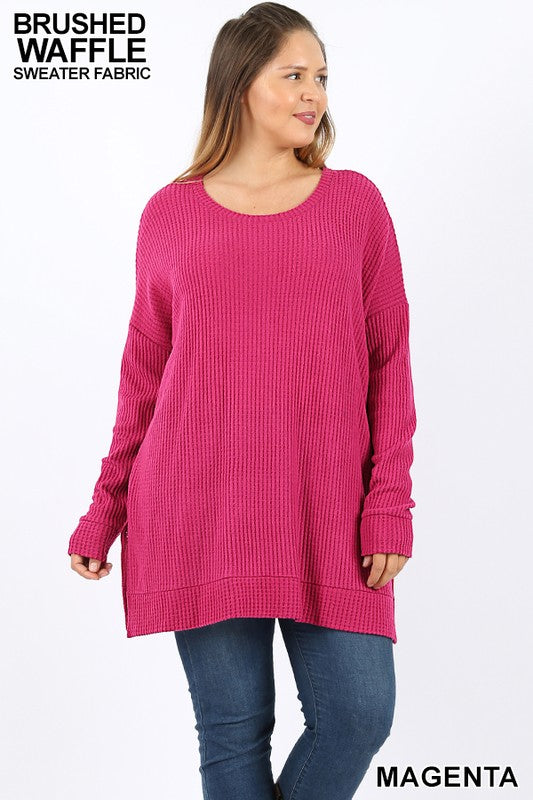 PLUS BRUSHED THERMAL WAFFLE ROUND NECK SWEATER - Zenana Outfitters Women's Clothing