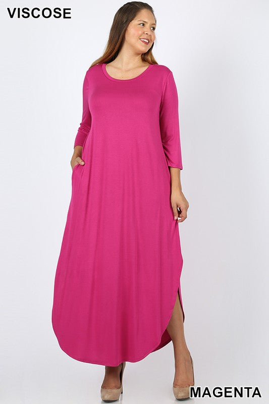 PLUS 3/4 SLEEVE MAXI DRESS SIDE SLITS POCKETS