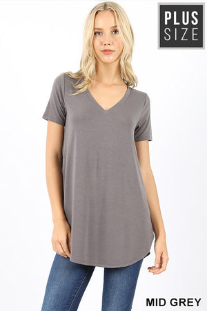 PLUS SHORT SLEEVE V-NECK ROUND HEM TOP - Zenana Outfitters Women's Clothing