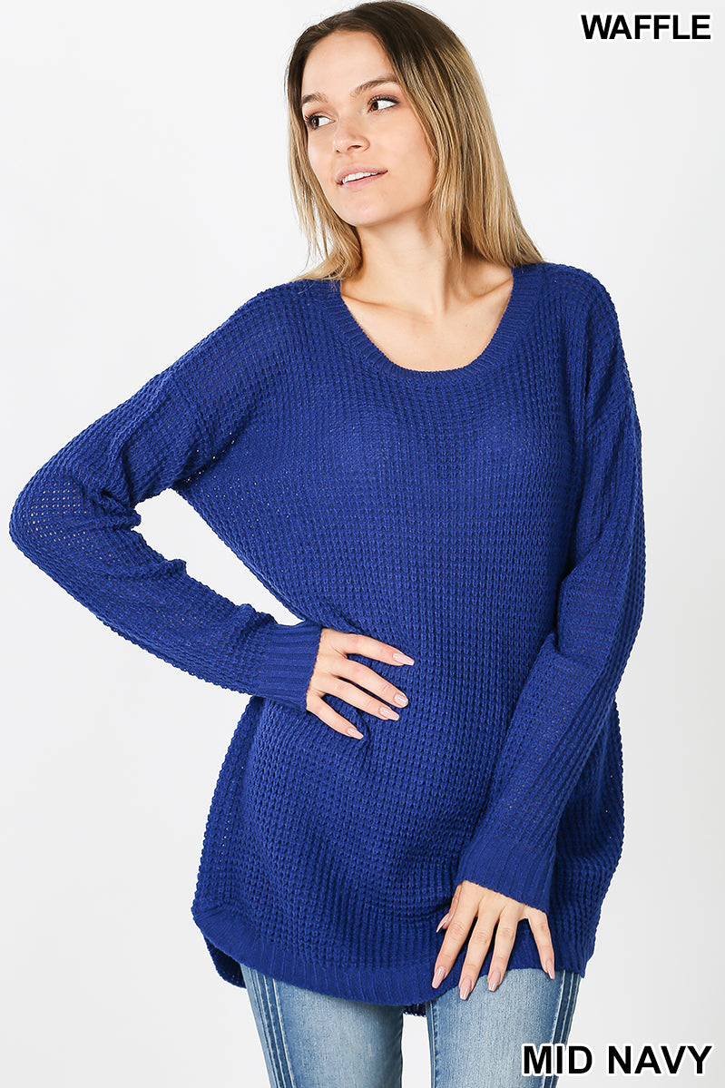 HI-LOW LONG SLEEVE ROUND NECK WAFFLE SWEATER - Zenana Outfitters Women's Clothing