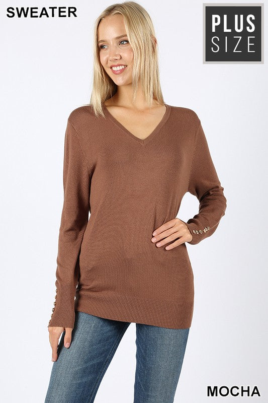 PLUS V-NECK GOLDEN BUTTONS DETAIL SWEATER - Zenana Outfitters Women's Clothing