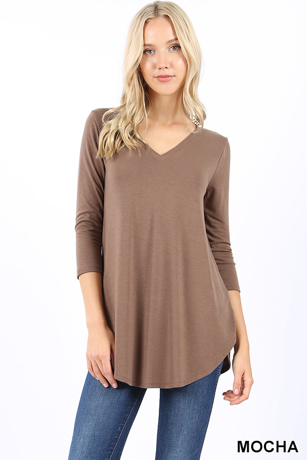 PREMIUM FABRIC 3/4 SLEEVE V-NECK ROUND HEM TOP - Zenana Outfitters Women's Clothing