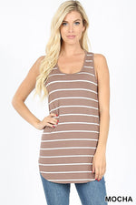 STRIPED FABRIC SLEEVELESS DOLPHIN HEM TOP - Zenana Outfitters Women's Clothing