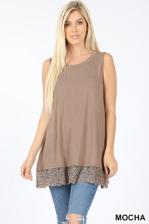PREMIUM SLEEVELESS ROUND NECK LACE BOTTOM TOP - Zenana Outfitters Women's Clothing