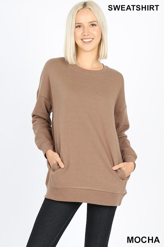 LONG SLEEVE ROUND NECK SWEATSHIRTS SIDE POCKETS - Zenana Outfitters Women's Clothing