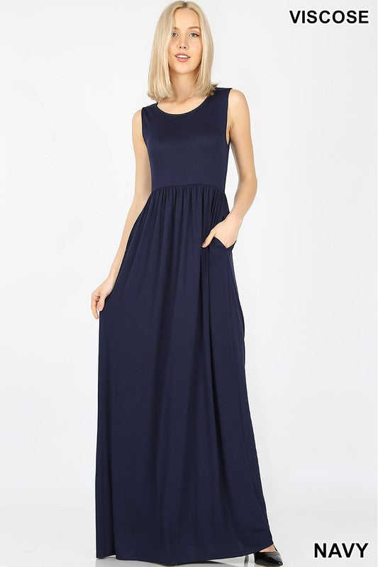 VISCOSE SLEEVELESS MAXI DRESS WAIST SHIRRING | Zenana Outfitters