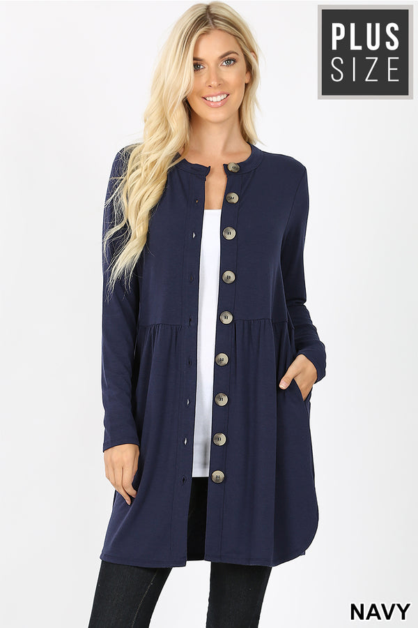 PLUS SHIRRED WAIST BUTTONED CARDIGAN | Zenana Outfitters
