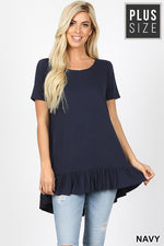 PLUS PREMIUM SHORT SLEEVE RUFFLE HI-LOW HEM TOP - Zenana Outfitters Women's Clothing