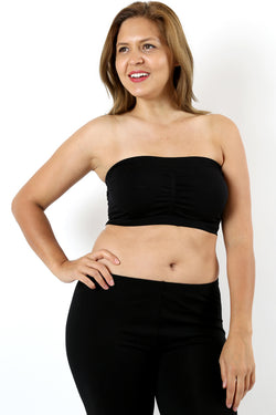PLUS SIZE BASIC SEAMLESS BUILT-IN-BRA BANDEAU - Zenana Outfitters Women's Clothing