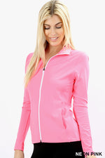 ACTIVE JACKET WITH CONTRAST COLORED ZIPPER - Zenana Outfitters