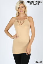 SEAMLESS LATTICE  FRONT CAMI WITH  ADJUSTABLE  BRA STRAP