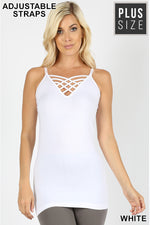 PLUS SEAMLESS LATTICE  FRONT CAMI WITH  ADJUSTABLE  BRA STRAP