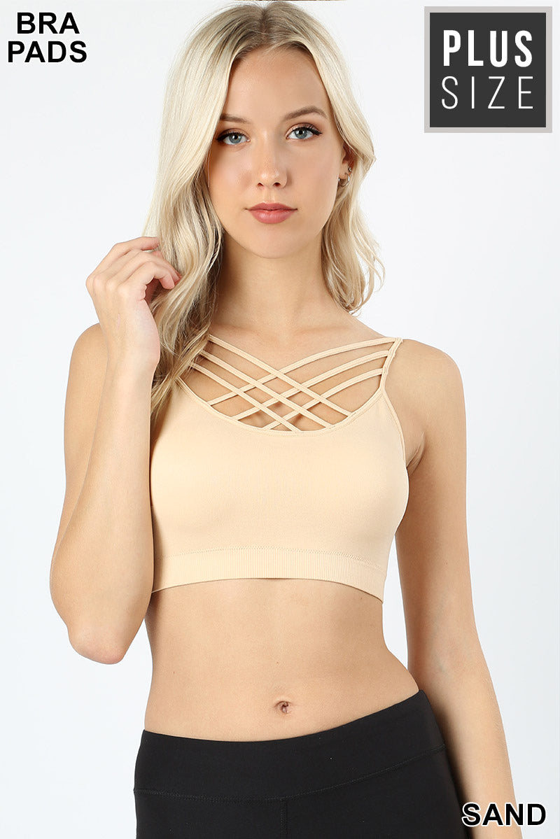 PLUS SEAMLESS TRIPLE CRISS-CROSS PADDED BRALETTE - Zenana Outfitters Women's Clothing