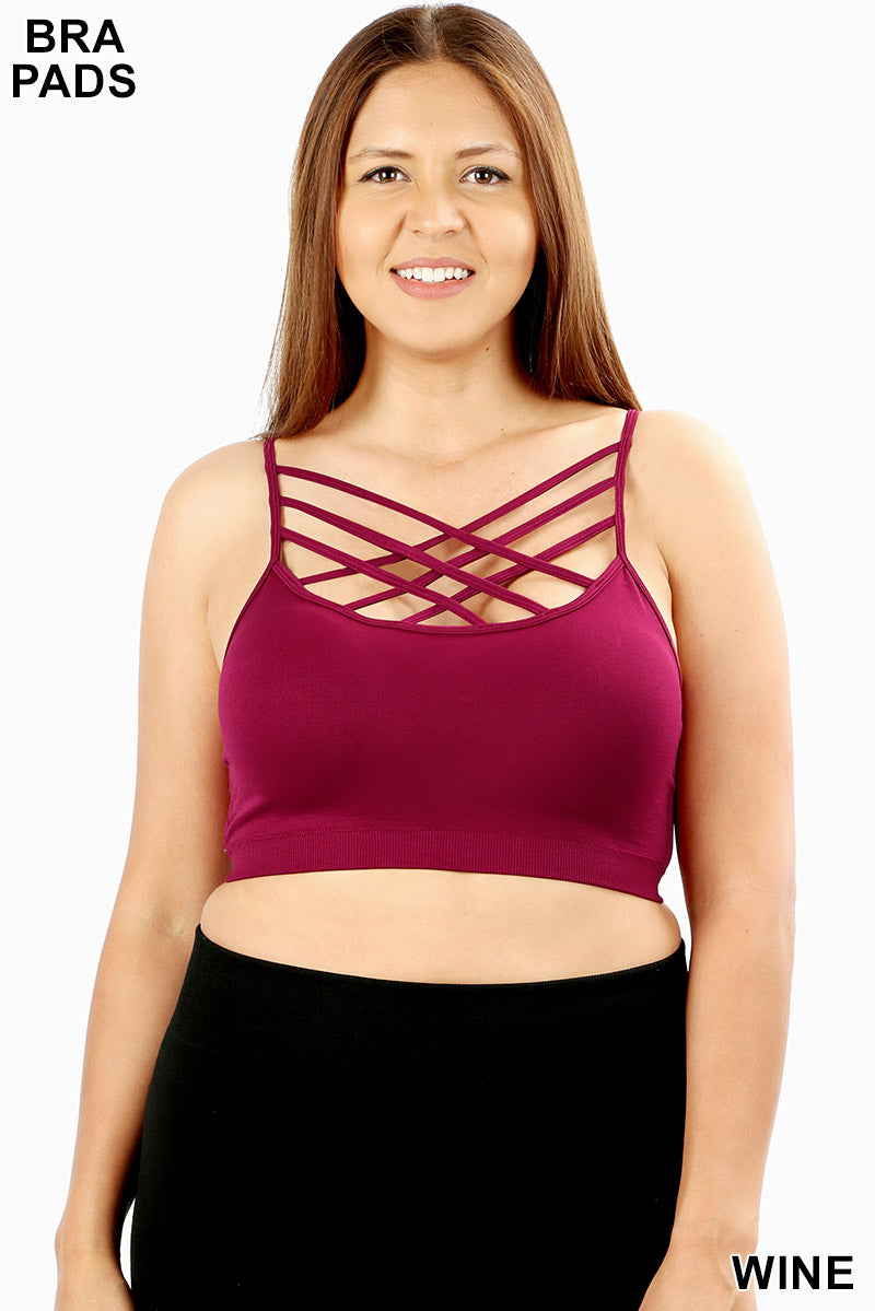 PLUS SEAMLESS TRIPLE CRISS-CROSS PADDED BRALETTE