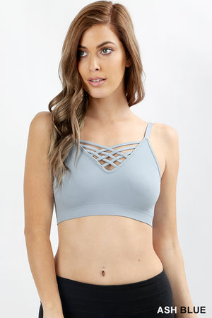 FRONT V-LATTICE, ADJUSTABLE STRAPS BRALETTE - Zenana Outfitters