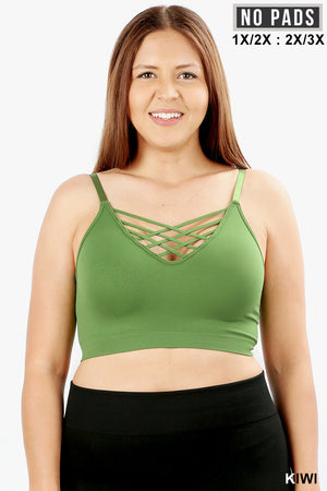 PLUS FRONT V-LATTICE, ADJUSTABLE STRAPS BRALETTE