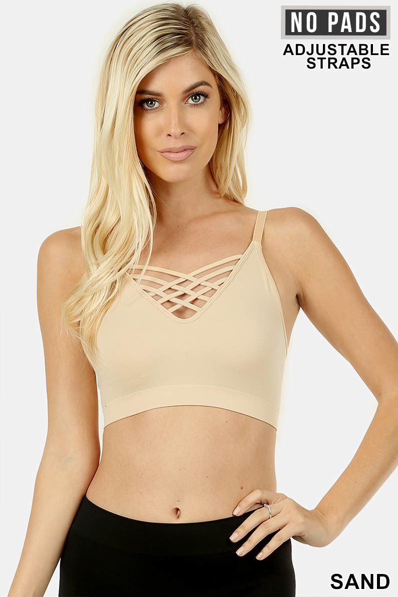 FRONT V-LATTICE, ADJUSTABLE STRAPS BRALETTE - Zenana Outfitters Women's Clothing