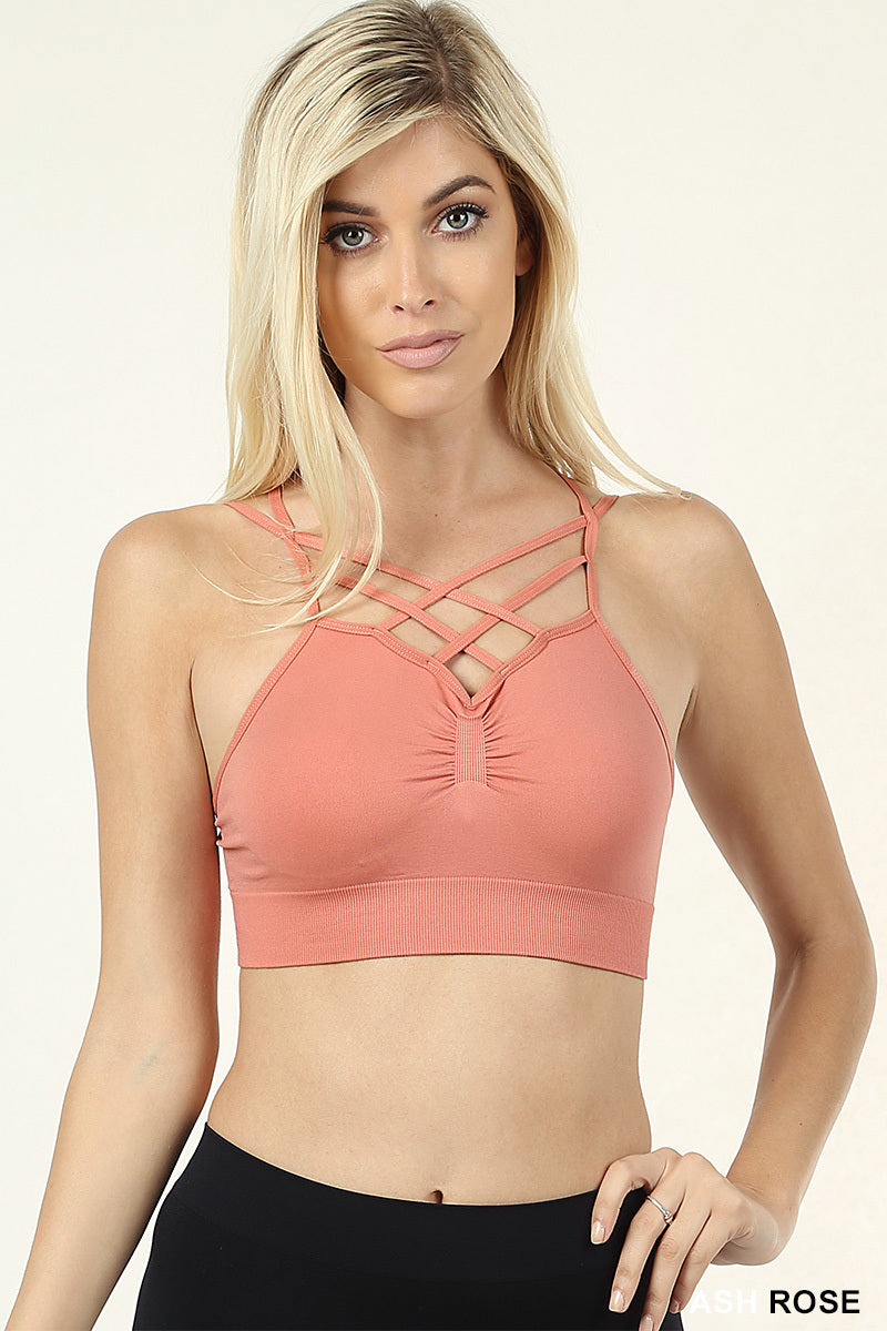 DOUBLE LATTICE FRONT STRAPPY BRALETTE - Zenana Outfitters Women's Clothing