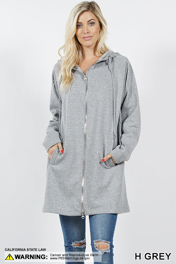 TWO WAY METAL ZIPPERS HOODIE SWEAT JACKET