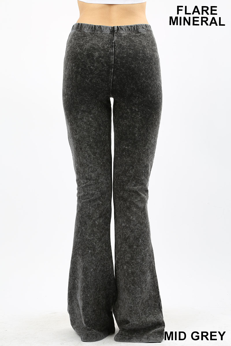 MINERAL WASHED ELASTIC WAIST  BOTTOM FLARE
