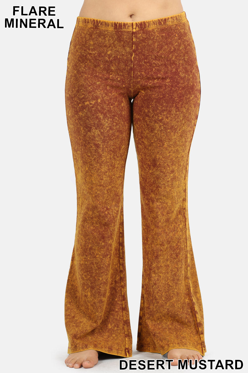 PLUS MINERAL WASHED ELASTIC WAIST  BOTTOM FLARE - Zenana Outfitters Women's Clothing