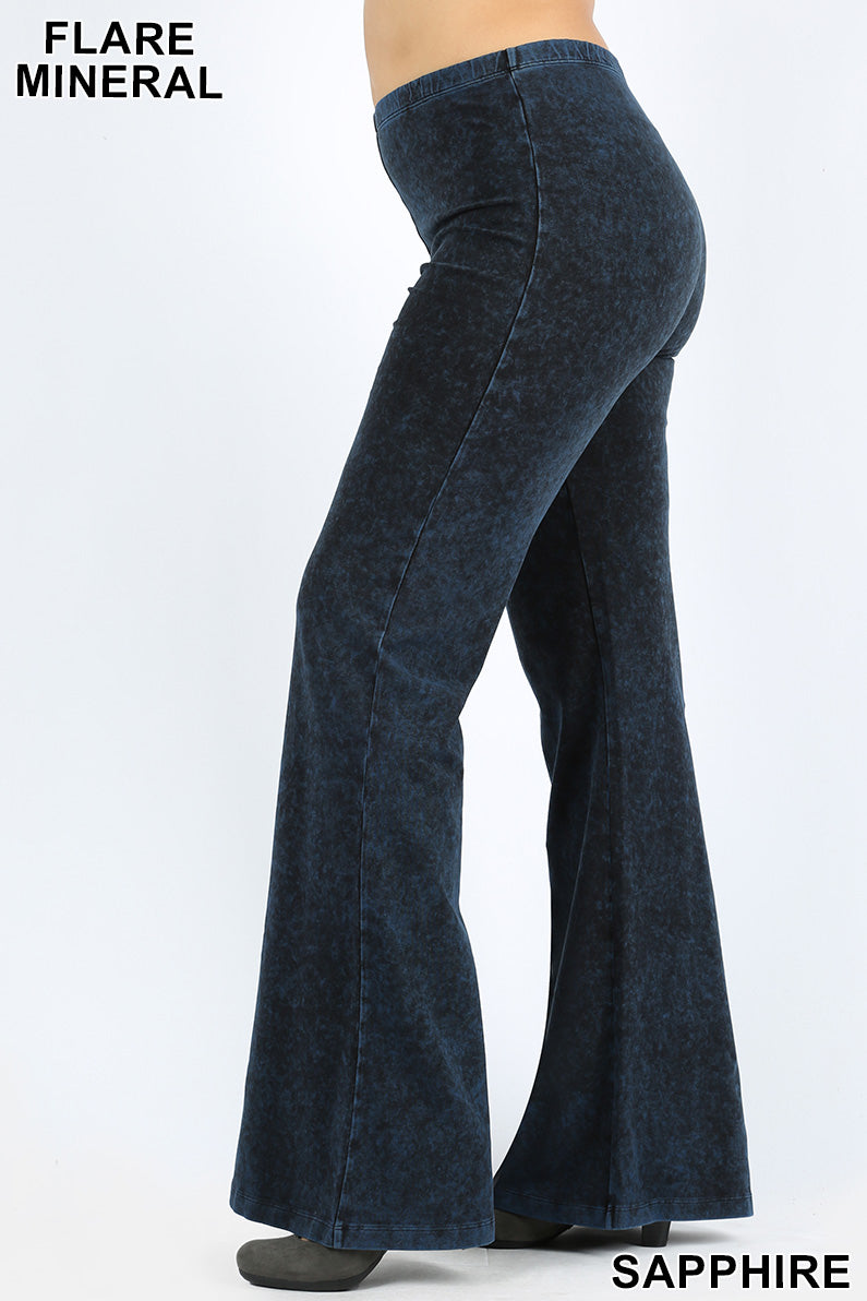 PLUS MINERAL WASHED ELASTIC WAIST  BOTTOM FLARE