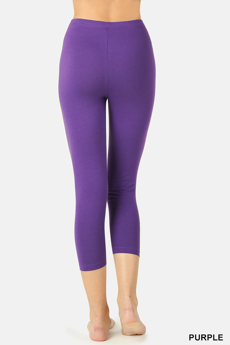 PREMIUM COTTON CAPRI LEGGINGS - Zenana Outfitters Women's Clothing