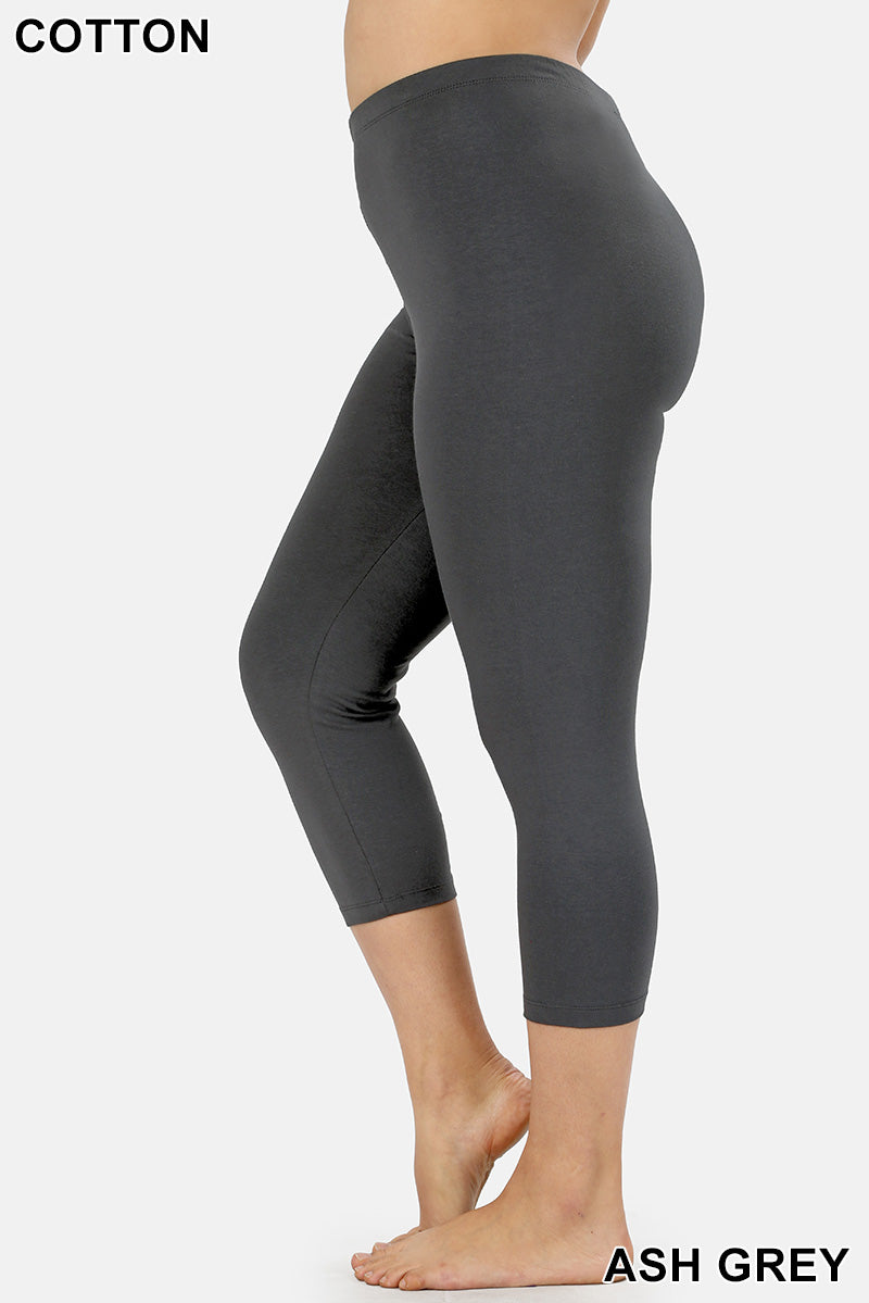 PLUS PREMIUM COTTON CAPRI LEGGINGS - Zenana Outfitters Women's Clothing