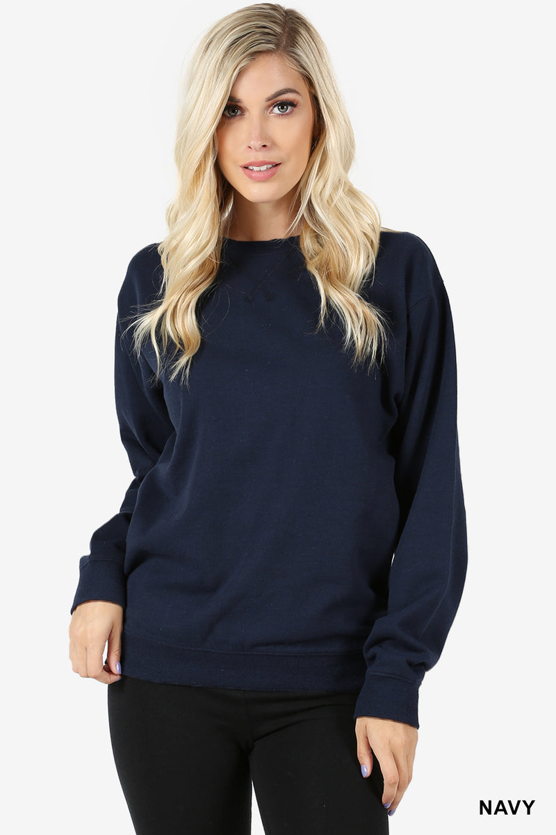TRIANGLE STITCH ROUND NECK SWEATSHIRTS - Zenana Outfitters Women's Clothing