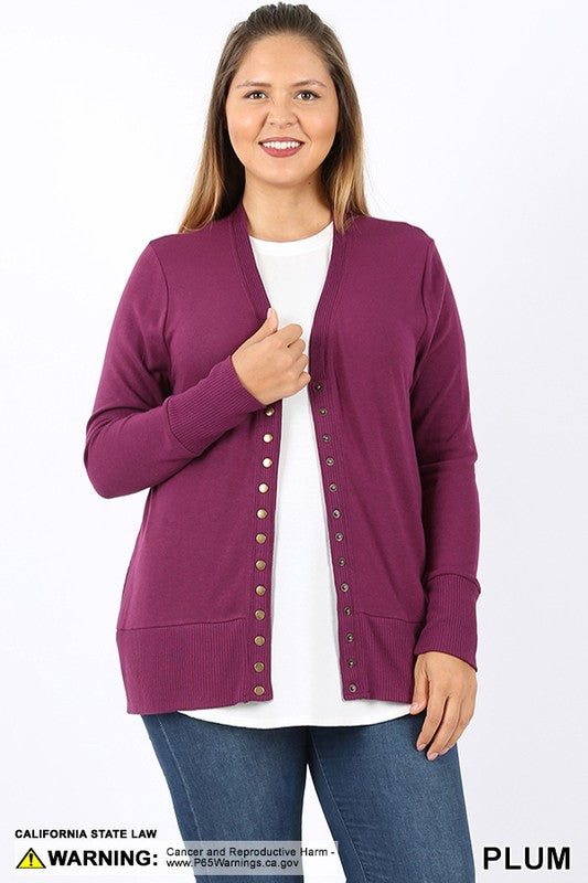 PLUS SNAP BUTTON SWEATER CARDIGAN - Zenana Outfitters Women's Clothing