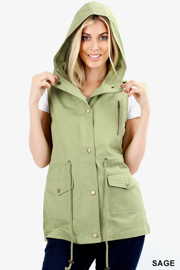 DRAWSTRING WAIST MILITARY HOODIE VEST WITH  POCKET - Zenana Outfitters Women's Clothing