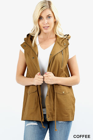 LOOSE FIT DRAWSTRING WAIST MILITARY HOODIE VEST
