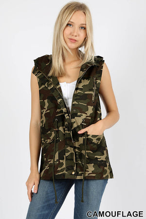 CAMOUFLAGE LOOSE FIT DRAWSTRING MILITARY VEST - Zenana Outfitters Women's Clothing