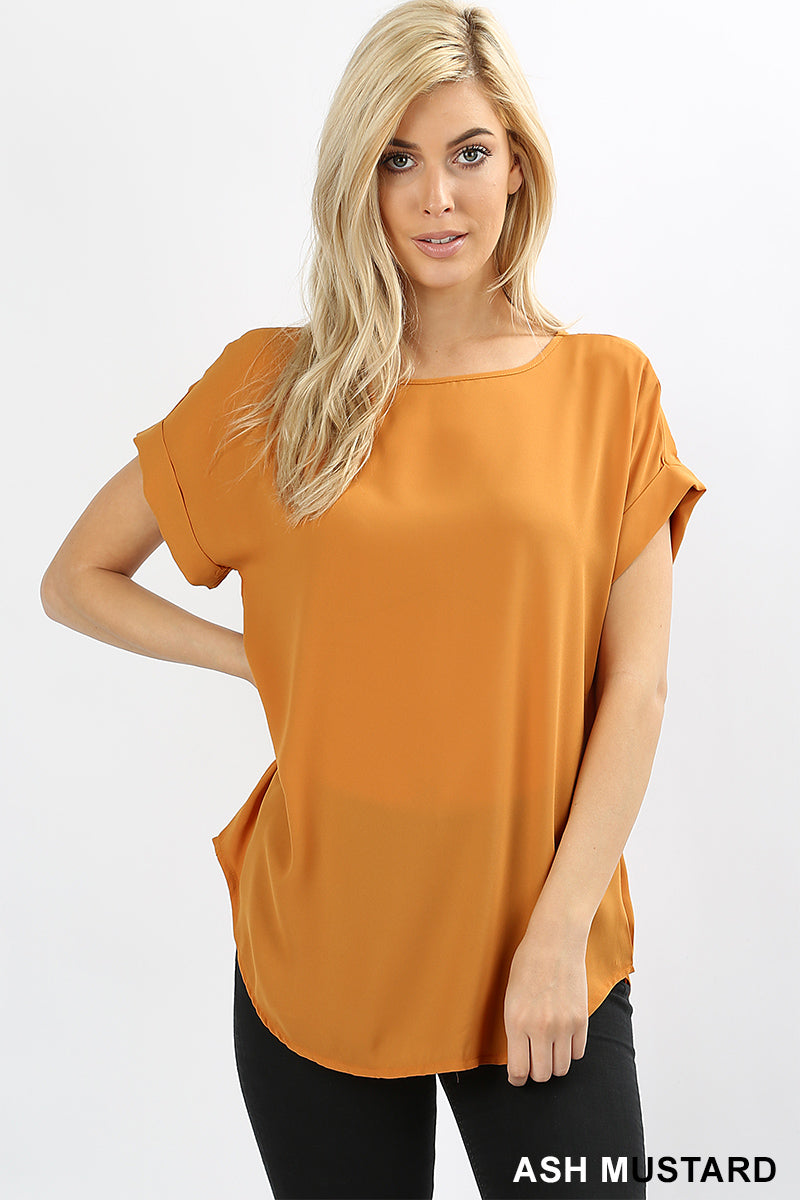 WOOL DOBBY SHORT CUFF SLEEVE TOP - Zenana Outfitters Women's Clothing