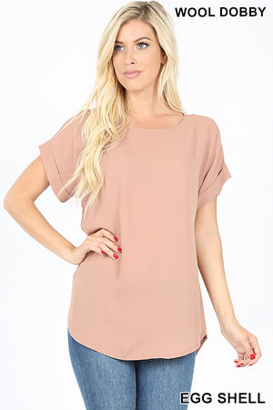 WOOL DOBBY SHORT CUFF SLEEVE TOP | Zenana Outfitters