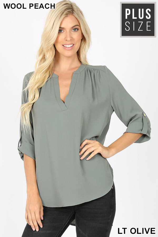 PLUS WOVEN HENLEY BLOUSE SPLIT NECK - Zenana Outfitters Women's Clothing