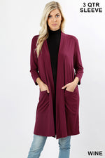 3/4 SLEEVE SLOUCHY POCKET OPEN CARDIGAN