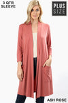 PLUS PREMIUM FABRIC 3/4 SLEEVE SLOUCHY POCKET OPEN CARDIGAN