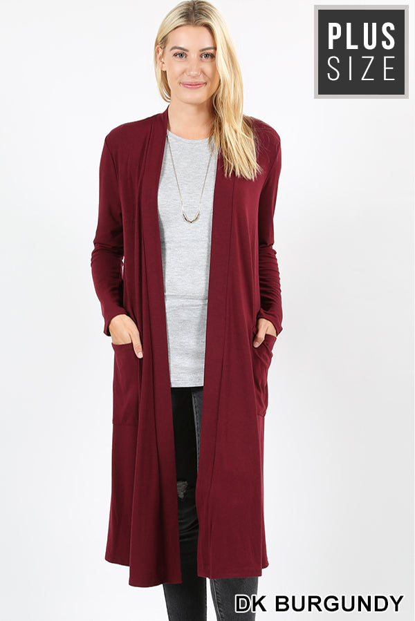PLUS SLOUCHY POCKET OPEN CARDIGAN - Zenana Outfitters Women's Clothing