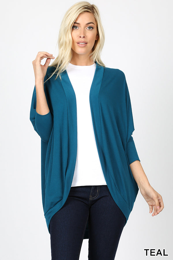 3/4 SLEEVE COCOON WRAP CARDIGAN - Zenana Outfitters Women's Clothing
