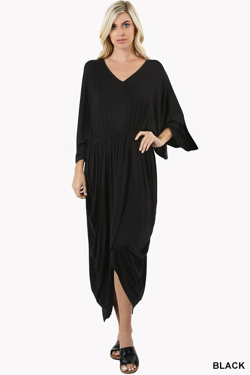 ELASTIC WAIST V-NECK 3/4 SLEEVE DRAPY DRESS