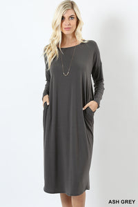 PREMIUM FABRIC DROP SHOULDER DRESS WITH SIDE POCKETS