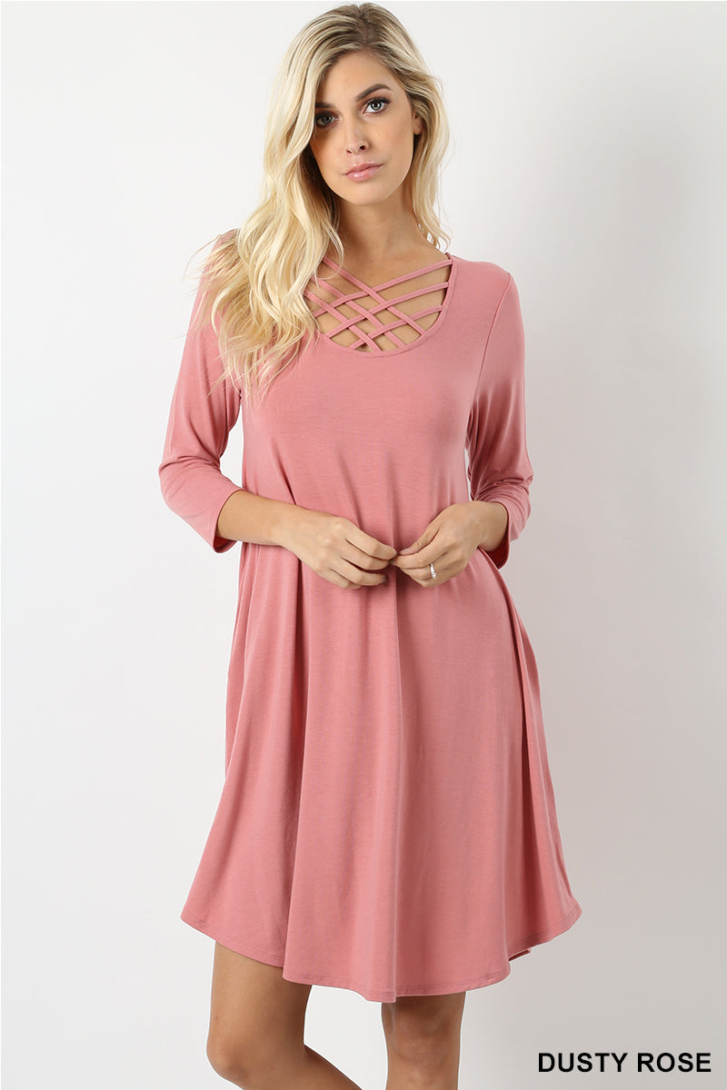 3/4 SLEEVE TRIPLE LATTICE DRESS - Zenana Outfitters Women's Clothing