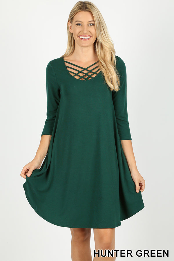 3/4 SLEEVE TRIPLE LATTICE DRESS