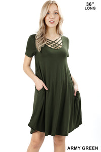 PREMIUM SHORT SLEEVE TRIPLE LATTICE DRESS - Zenana Outfitters Women's Clothing