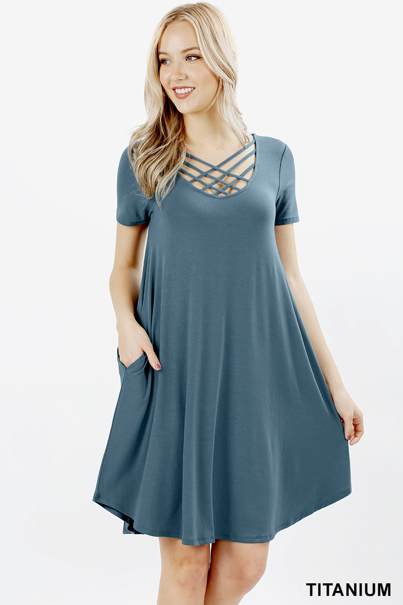 PREMIUM SHORT SLEEVE TRIPLE LATTICE DRESS